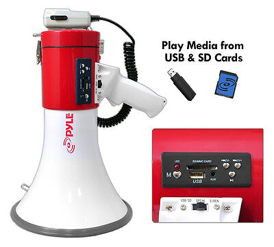 Pyle Megaphone Bullhorn Built-in Rechargeable Battery USB Flash/SD Memory Card