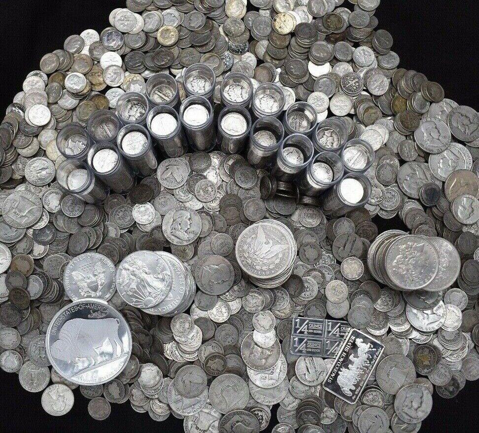 Best  SILVER US COINS .999 PURE SILVER BARS BULLION MASSIVE ESTATE SALE COIN MIXED LOT