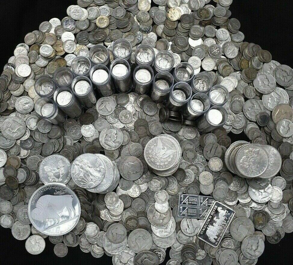 Best  SILVER COINS OLD UNCIRCULATED COLLECTION BARS BULLION ROUNDS US 90% ESTATE