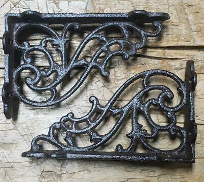 "Set of 4 X-LARGE Cast Iron Shelf Brackets Rustic Brown Antique-Style 13/"" x 13/"""