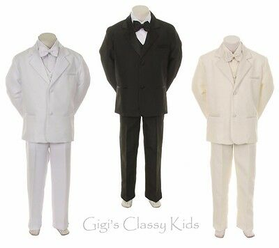 Boys Tuxedo Suit Christening Baptism First Communion Ring Bearer Wedding Kids (Ring Bearer Suit)