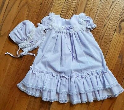Vintage Bryan Baby Girls Dress With Bonnet Lavender Polka Dots Ruffle Lace 12 Mo