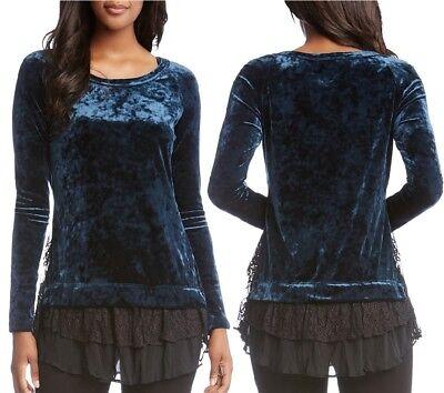 Karen Kane 3N94861 Teal Blue Stretch Crushed Velvet/Black Lace Inset Top - $128