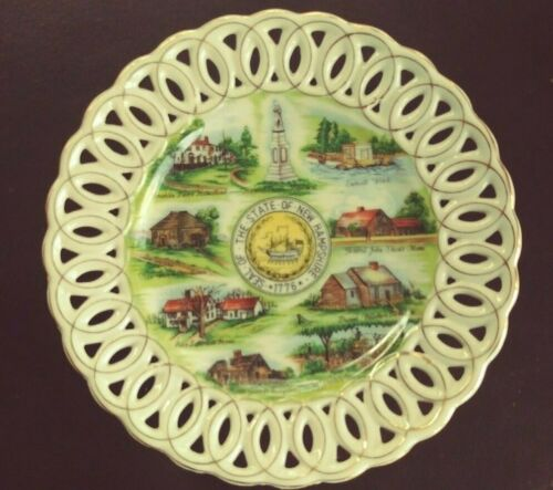 """Vintage New Hampshire State Seal Souvenir Lefton China Plate NH  Hand Painted 8"""""""