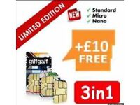 Free delivery giffgaff SIM card with free £10 credit after activation unlimited calls text data