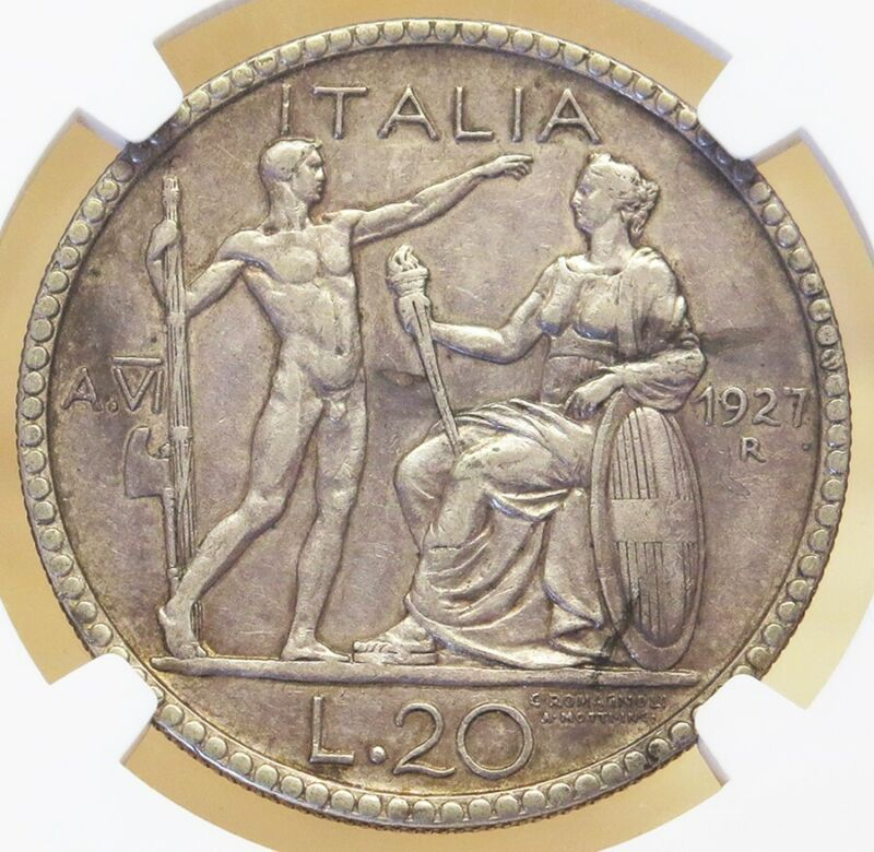 1927 R YEAR VI SILVER ITALY 20 LIRE VITTORIO EMANUELE III COIN NGC VERY FINE 25