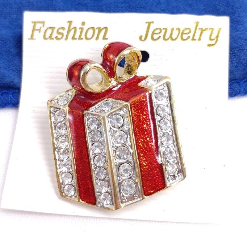 (W) Enamel Bow Present Box Gift Rhinestone Gold CHRISTMAS Holiday Brooch Pin
