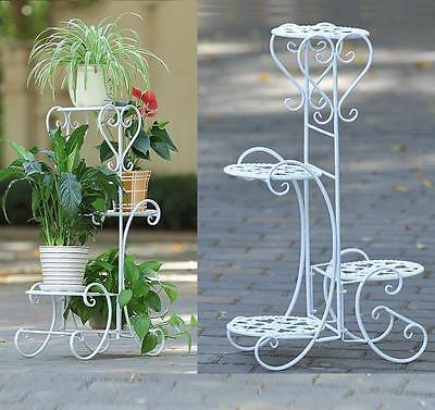 4 Tier Metal Plant Stand Garden Decorative Planter Holder Flower Pot Shelf Rack