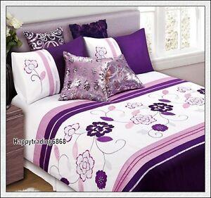 Dark-Purple-Pink-White-Flora-Pintuck-3pc-QUEEN-QUILT-DOONA-COVER-SET-280TC