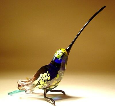 "Blown Glass Figurine ""Murano"" Art Bird Blue & Brown HUMMINGBIRD with Long Beak"