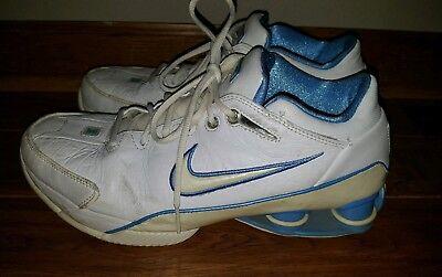 Mens 2004 Nike Shox Flight ZoomAir Basketball Sneakers Shoes Sz 10 Baby Blue vtg