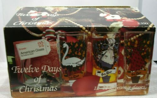 Vintage Twelve Days of Christmas Glass Set 12 w/ Box American Glass 2350