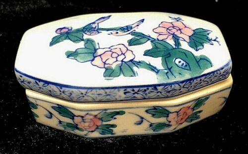 """Asian Porcelain White Blue Pink Trinket Box Bird & Floral Design 3.5"""""""