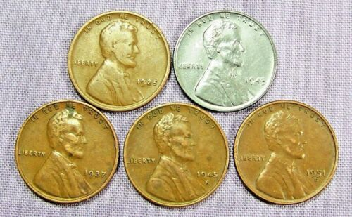 (1) 1943 P Lincoln Steel Cent & (4) Copper Wheat Varies Dates *33901