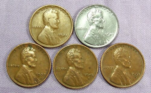 (1) 1943 P Lincoln Steel Cent & (4) Copper Wheat Varies Date and mint *33901