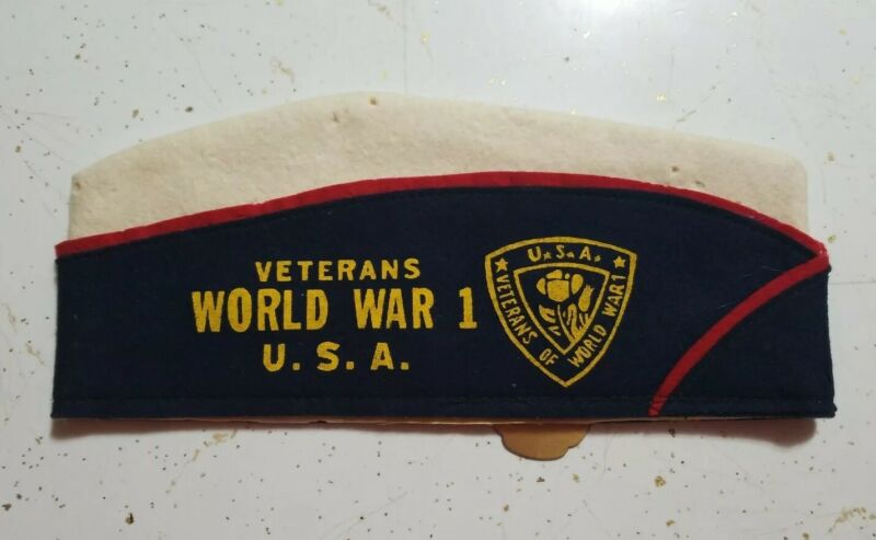 Vintage Indiana Veterans Of World War 1 Garrison Hat with 1961 convention ribbon