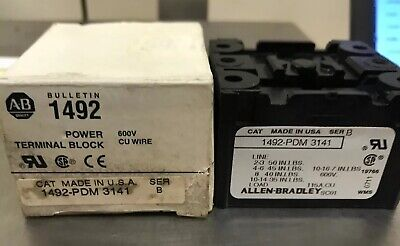 Allen Bradley Power Terminal Block Part 1492-pdm 3141 Ser B 600v