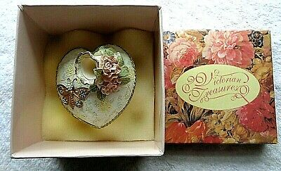 VICTORIAN TREASURES HEART SHAPED FLORAL PEN STAND w/ JEWELED (Heart Shaped Pen)