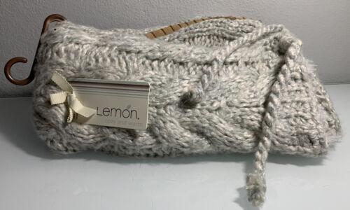 Lemon Hand Knit Slipper Socks Soft Sole Faux-Fur Lined Clear