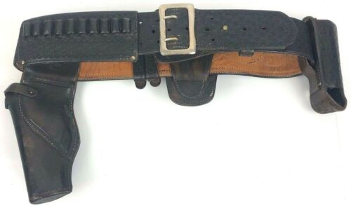 "Leather Police Duty Belt With Gun Holster Approximate 44"" in Length"