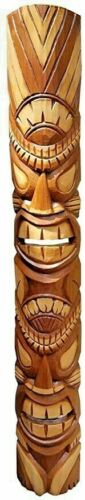 "Detailed 39.5"" Handcarved Natural Style Two Face Wood Tiki Mask Wall Decor!"