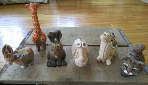 Artesania Rinconada Lot of 6 VTG Figurines Giraffe Camel Rabbit Rhino Donkey Cat