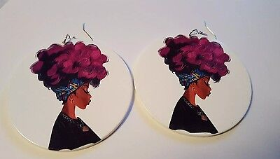 White Wood hoop painted Afro woman w/ Bandana ethnic afrocentric urban earrings - White Afro