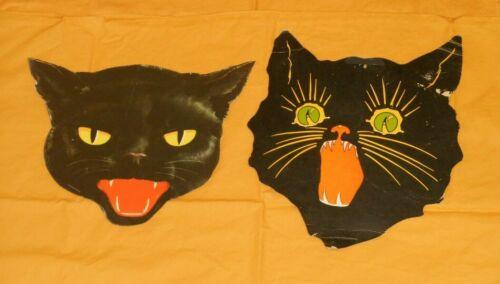vintage Halloween BLACK CAT FACE DECORATION cutout diecut lot x2