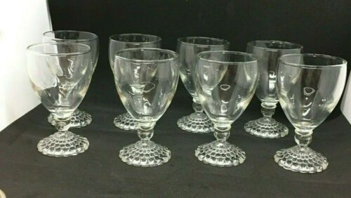 Anchor Hocking Set of 8 BUBBLE FOOT CLEAR Juice Glasses Beautiful EUC