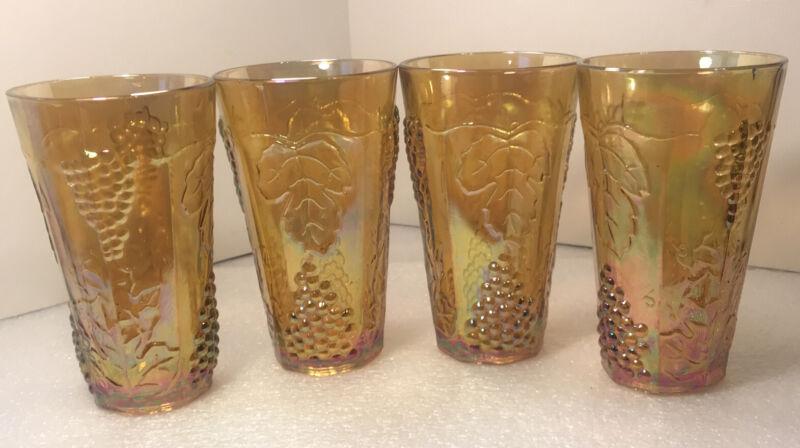 "4 Vintage Marigold Carnival Drinking Glasses with Harvest Grape Pattern 5 3/4"""