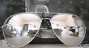 Aviator-Sunglasses-Standard-Size-Silver-Frame-Reflective-Silver-Mirror-Lenses