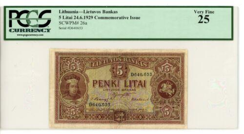 Lithuania ... P-26a ... 5 Litai ... 1929 ... *VF+* ... PCGS 25