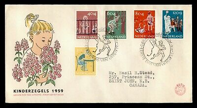 DR WHO 1959 NETHERLANDS FDC CHILD WELFARE SEMIPOSTALS  C242613