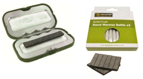 Highlander Solid Fuel Handwarmer / Refill Camping Hiking Charcoal Pocket Warmer