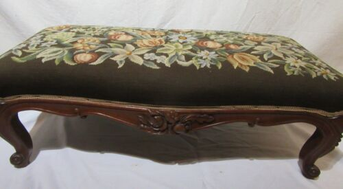 Victorian walnut Needlepoint bench
