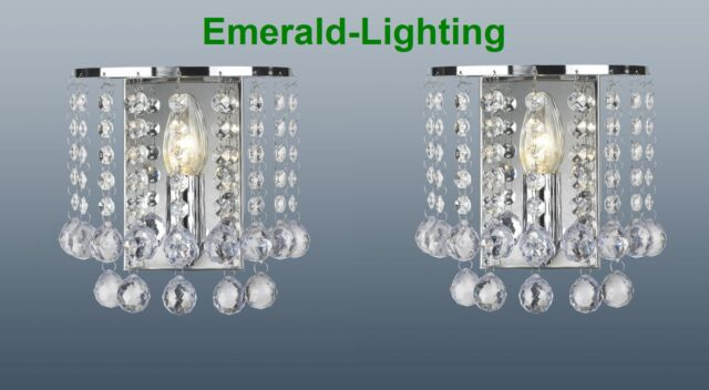 PAIR OF PALAZZO WALL LIGHTS CLEAR CRYSTAL BALL DROPLETS POLISHED CHROME FRAME