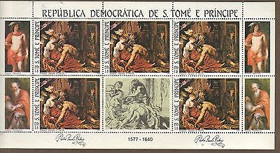 S.Tome & Principe 1983 EASTER Samson and Delilah by Rubens MNH MS SC # 693