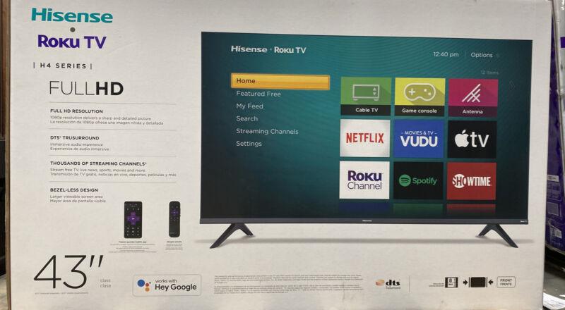 "Hisense 43"" 1080P FHD LED Roku Smart TV OPEN BOX / NEW!!- COMPLETE"