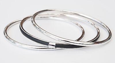 Neu 3-Reihiger ARMREIFEN SET in silber/schwarz 3 ARMREIFEN IM SET Armband