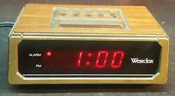 Westclox 22644 Retro Wood Grain LED Alarm Clock, 0.6-Inch Digital Tested Working