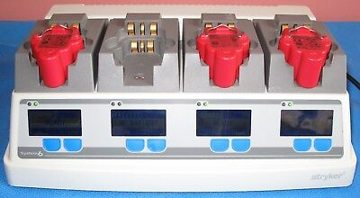 Stryker System 6 Battery Chager Ref 6110-120 With 3 Stryker 4222-110 Batteries