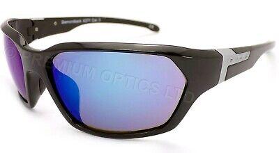 BLOC Gafas de Sol Diamondback Negro Brillante con Azul Espejo Lentes X37