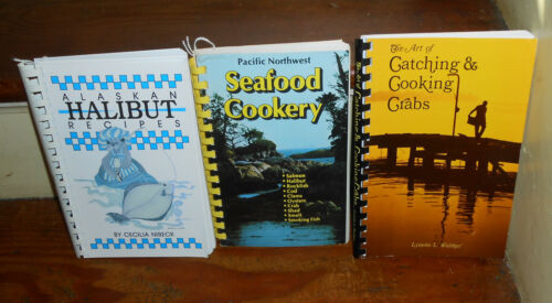 LOT OF 3 VINTAGE SEAFOOD COOKERY COOK BOOKS ART OF CRABS ALASKAN HALIBUT FISH +