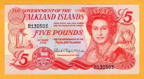 Falkland Islands aUNC 2005 £5 Pound banknote depicting Queen Elizabeth II P-17a