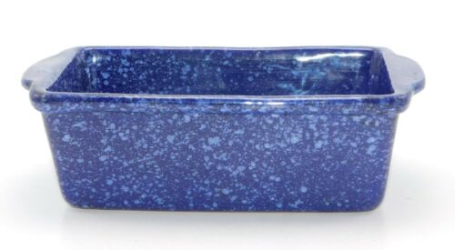 Vintage Monmouth Western Stoneware Loaf Pan Blue Speckled WS 1607 USA