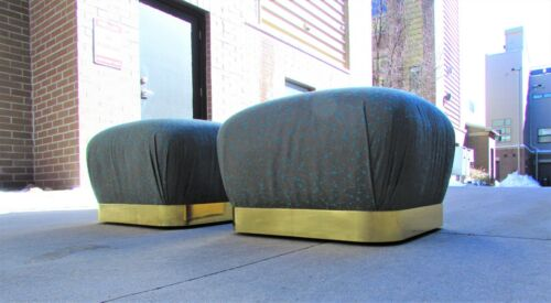 PAIR Vintage GLAM Mid Century Modern MARGE CARSON Rolling POUF Brass OTTOMANS