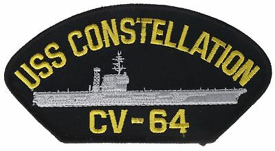 USS Constellation CV-64 Navy 5 Inch Black Gold Cap Hat Embroidered Patch F2D5F