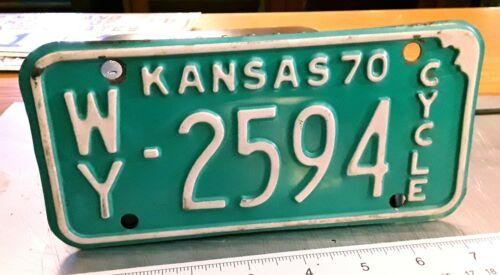 KANSAS - 1970 motorcycle license plate - nice original from Wyandotte county