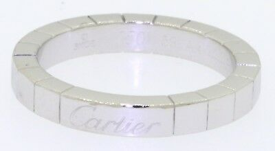 Cartier heavy 18K white gold elegant band ring size 53 (US 6.75) w/ pouch/papers