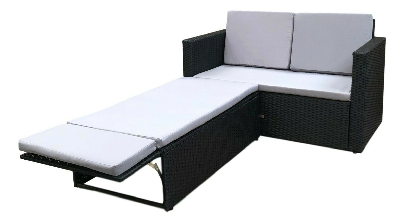 Garden Furniture - Rattan Outdoor Garden Sofa Furniture Love Bed Patio Sun bed 2 seater Black New